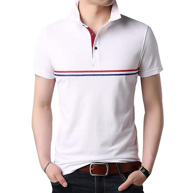 2018 Verano Solapa para Hombre Camiseta Polo Camiseta Juvenil Color Bloque Slim Fit Moda Manga Corta Polo Casual Tops: Amazon.es: Ropa y accesorios