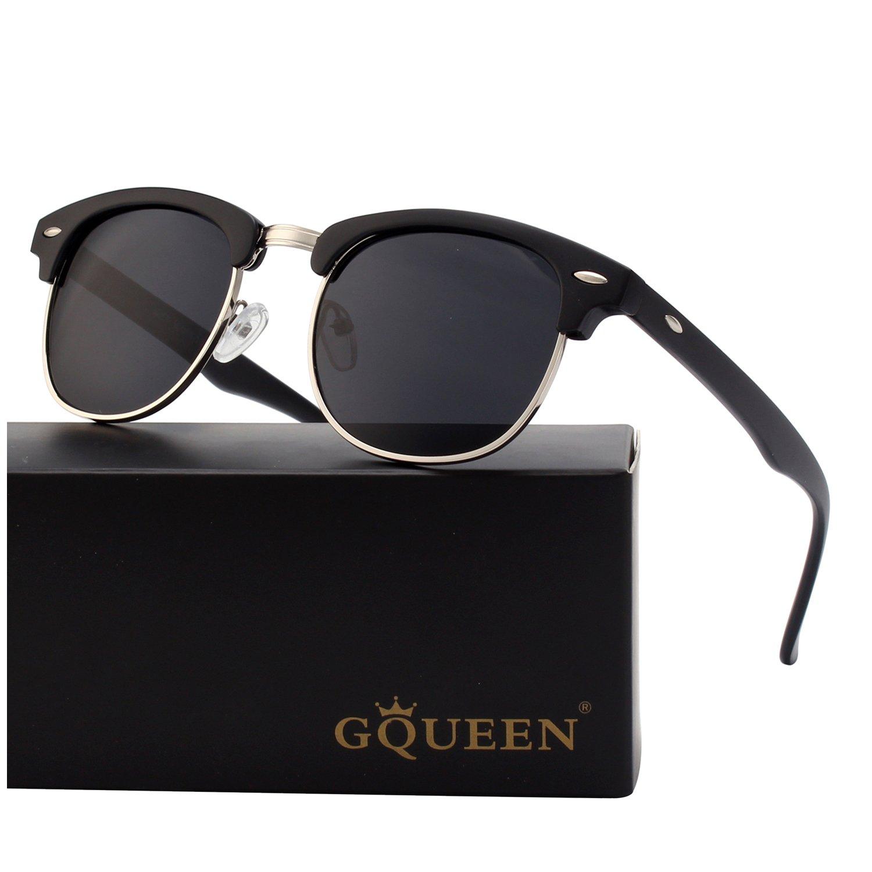 21d8113d54d GQUEEN Horn Rimmed Half Frame Polarized Sunglasses GQO6  Amazon.co.uk   Clothing
