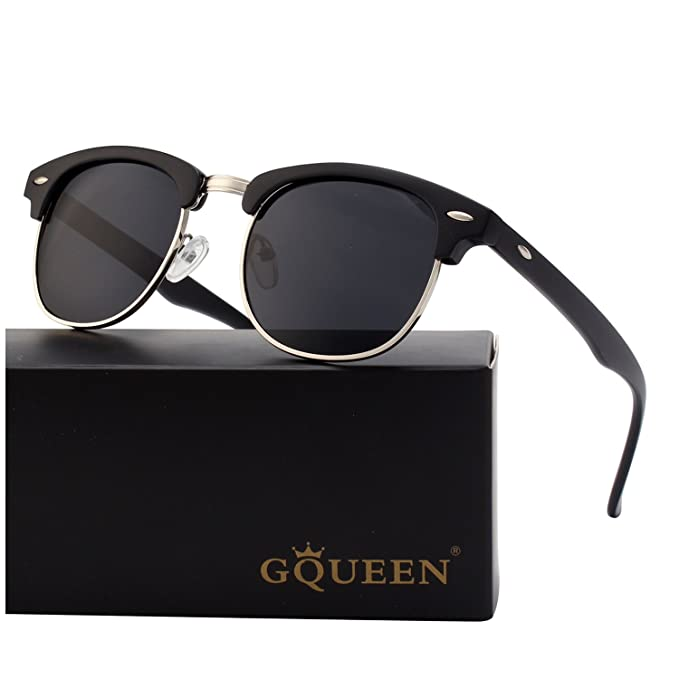 3cffd53628 GQUEEN Horn Rimmed Half Frame Polarized Sunglasses GQO6  Amazon.co.uk   Clothing