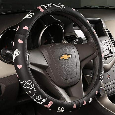 8efbd8f5f Amazon.com: Carmen Hello Kitty Cartoon Steering Wheel Cover Black Silicone  Universal 15 Inch: Automotive