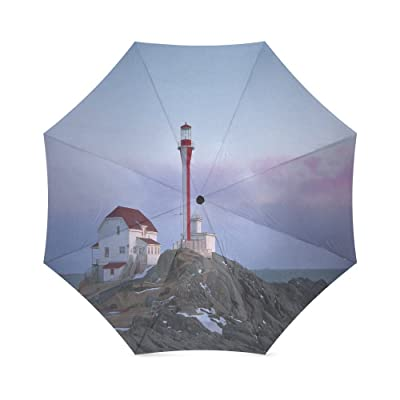 Custom Beautiful Lighthouse Compact Travel Windproof Rainproof Foldable Umbrella
