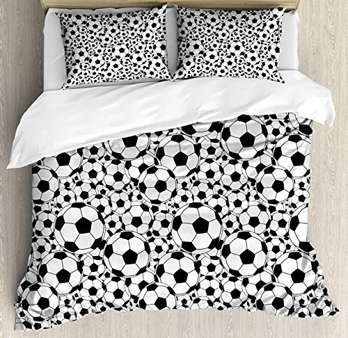(Soccer Duvet Cover Set Queen Size, Monochrome Design Pattern of Classical Football Balls Kids Boys Cartoon Pattern, Decorative 3 Piece Bedding Set with 2 Pillow Shams, Black White)