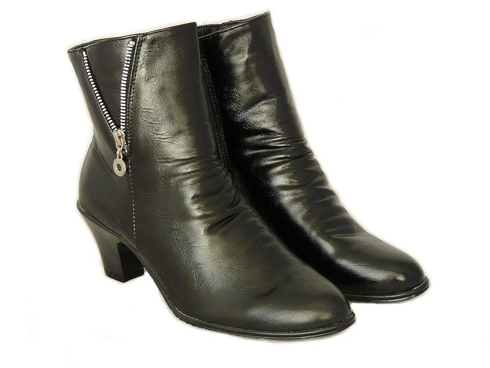 Negro de Piel Sintética Botines de las Mujeres con Tacón Cubano (EU 35.5 UK 3): Amazon.es: Zapatos y complementos