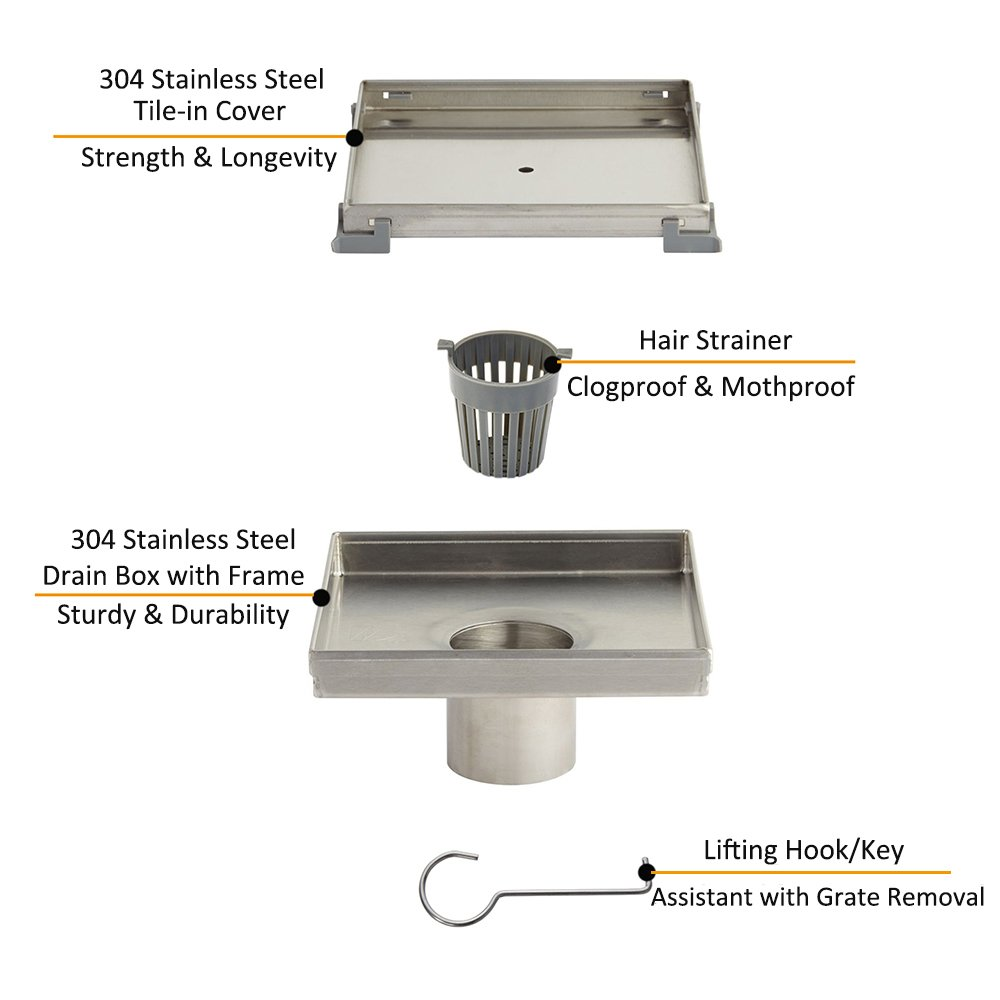 KDrain 6 Inch Square Shower Floor Drain for Bathroom and Kitchen, Tile-in Design Floor Shower Drain Made of 304 Rustproof Stainless Steel with Brushed Finish, Kit Includes Hair Strainer and Key by KDrain (Image #4)