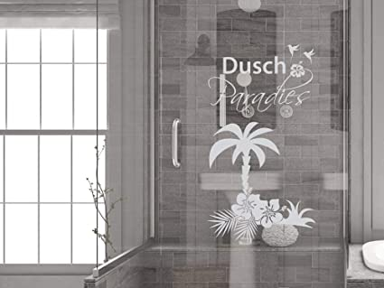 GRAZDesign Fenstertattoo Schriftzug Dusch Paradies mit Palme, Fensterfolie  fürs Badezimmer - Glastattoo für Dusche / 73x40cm