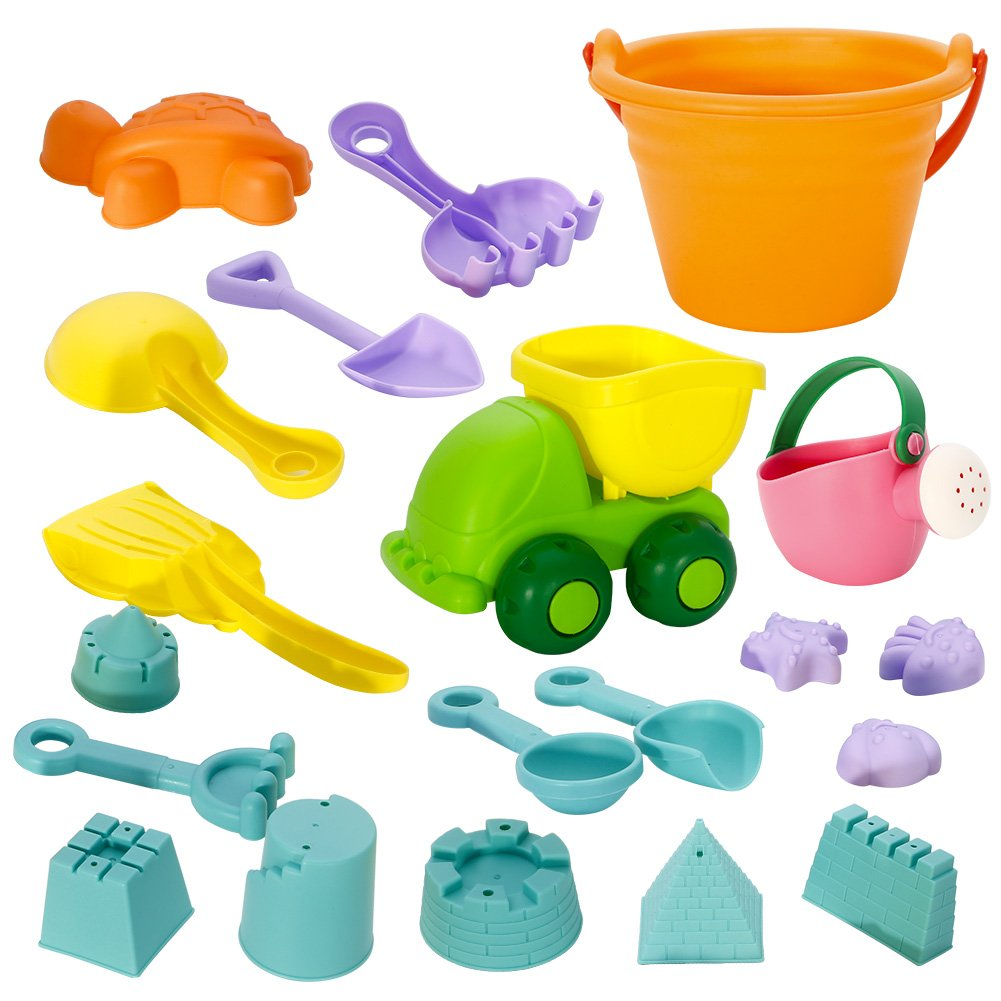 ThinkMax Beach Sand Toys Set, 20pcs Soft Pool Beach Toy for Kids Toddlers with Truck, Bucket, Watering Can,Shovels, Rakes, Diverse Sand Molds