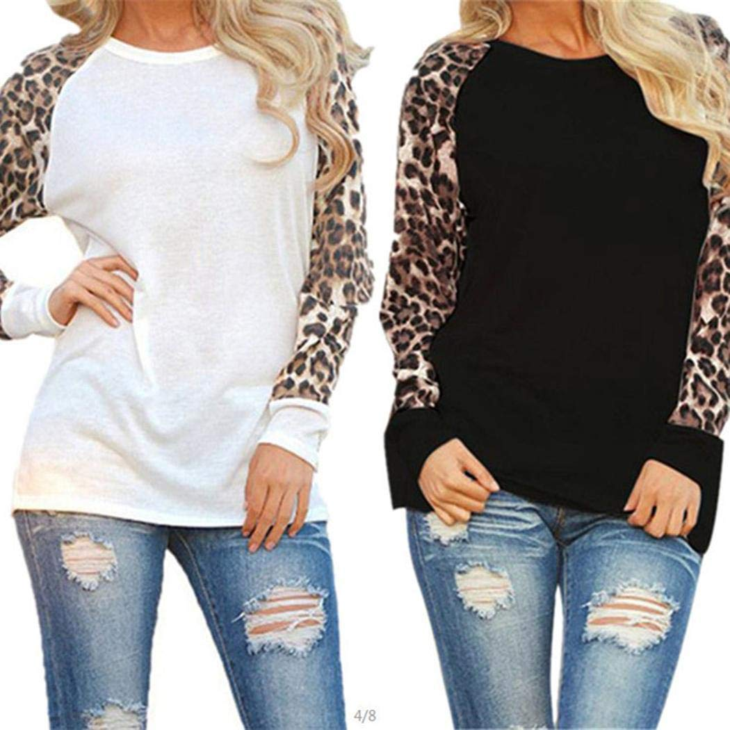 Weardear Women Casual O-Neck Leopard Patchwork T-Shirt Knits & Tees Black