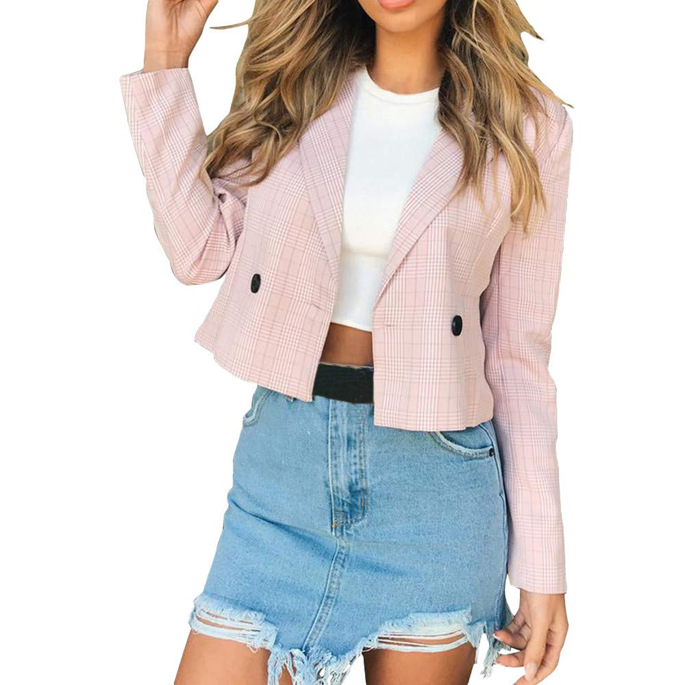 Clearance! Women Short Coat Long Sleeve Plaid Lattice Coat Blazer Suit Tops Office Slim Jacket Outwear (L, Pink)
