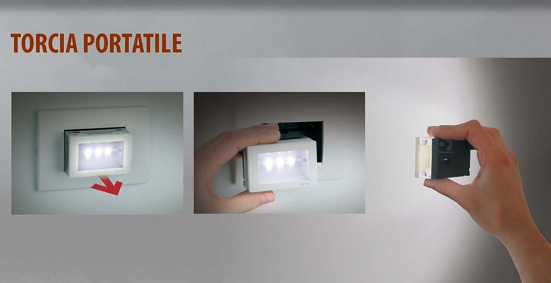 Bianco//Grigio 2 W 230 V Vemer VE511200 Lampada di Emergenza Syrio da Incasso Estraibile