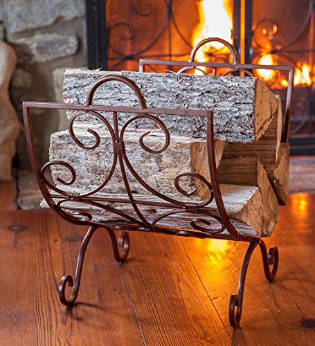 Plow & Hearth Crest Metal Scroll Work Fireplace Log Holder Rack - 21.75 L x 14 W x 19.5 H - Copper Finish