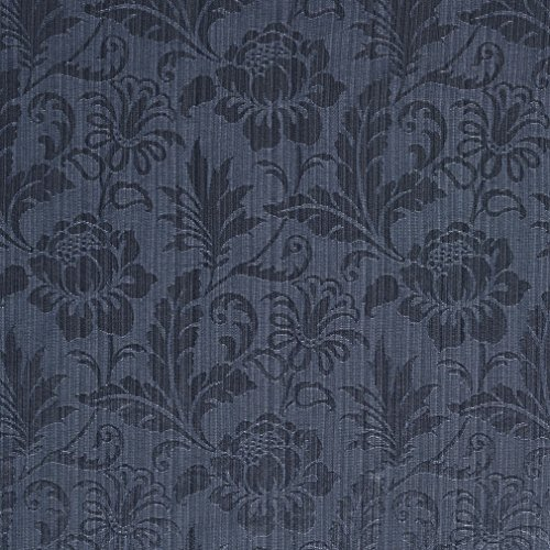 Dark Blue and Light Blue Tone on Tone Floral and Leaf Damask Upholstery Fabric by the yard