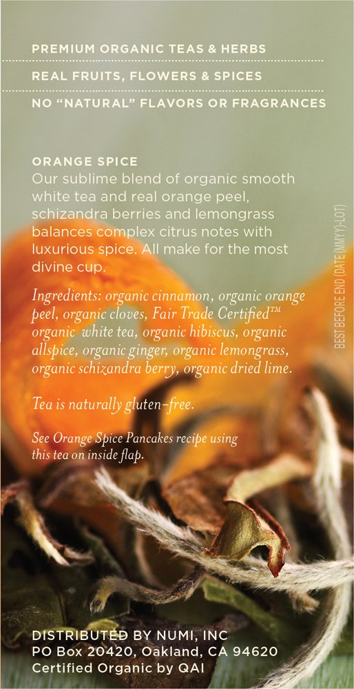 Numi Organic Tea White Orange Spice, Full Leaf White Tea, 16-Count Tea Bags, 1.58 Oz  (Pack of 2) by Numi Organic Tea (Image #2)