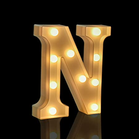 Fashlits LED Marquee Letter Lights Sign, Battery Powered Light Up Alphabet Letters for Bedroom Wedding Birthday Party Christmas Home Bar Decoration (N)