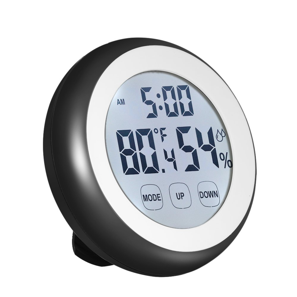 Thermometer Hygrometer, KKmoon °C/°F Digital Temperature Humidity Meter Alarm Clock Touch Key with Backlight