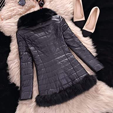 Amazon.com: MaxFox Womens Winter Warm Zipper Leather Jacket Parka Coat Casual Faux Fur Double Edges Outwear Overcoat (Black,L): Clothing