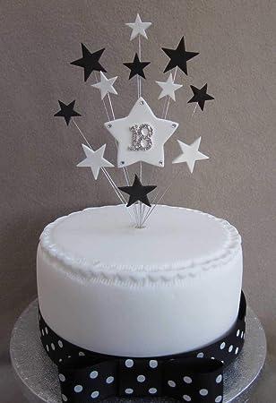 18 Geburtstag Kuchen Topper Schwarz Und Weiß Sterne Geeignet Für