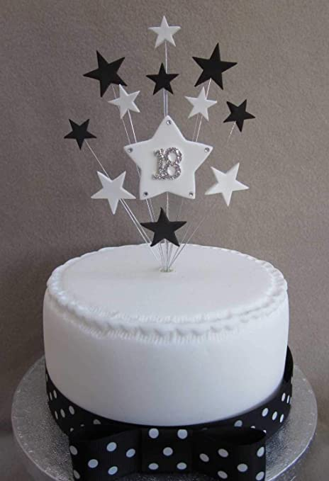18th Birthday Cake Topper Black And White Stars Suitable For A Small