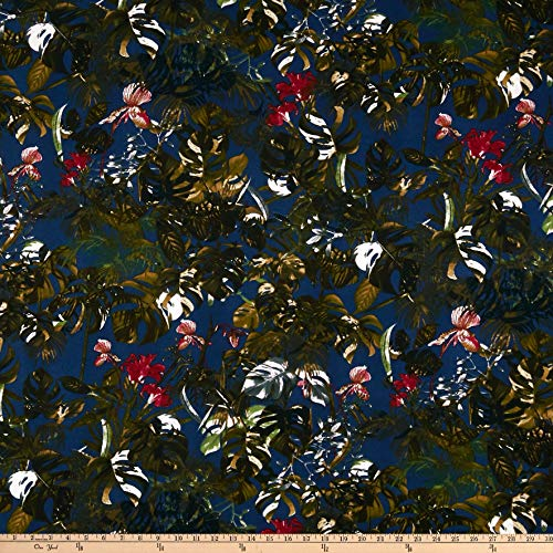 (Fabric Liverpool Double Knit Tropical Floral Fabric, Navy/Olive, Fabric By The Yard)