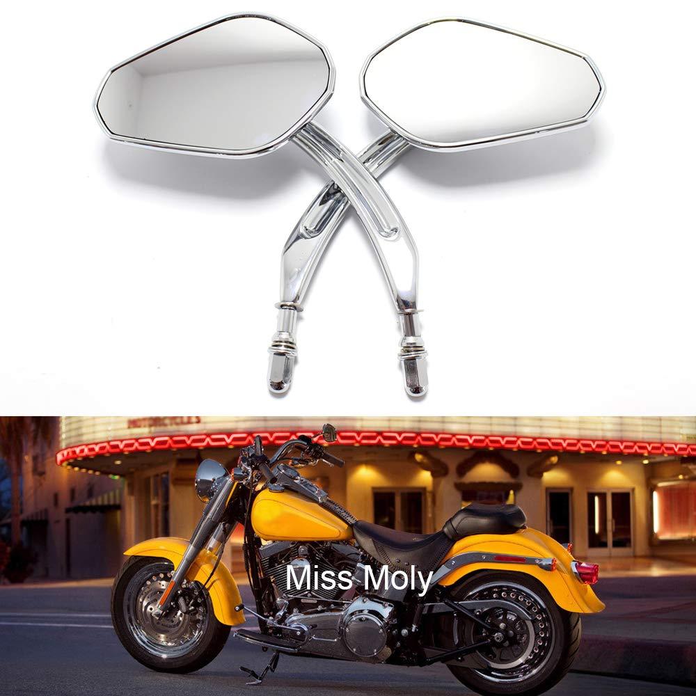 Noir 8mm R/étroviseurs de Moto pour Sportster XL883 1200 Dyna Fat Boy Road Glide
