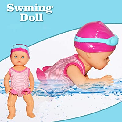 FIN86 Swimming Doll,Cute Electric Swimming Toy Waterproof Bathtub Toy for Kids Baby Holiday Birthday Gift - Battery Operated and Really Swims: Kitchen & Dining