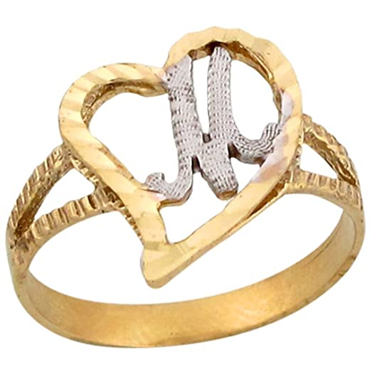 14k Two Tone Gold Fancy Cursive Letter M Unique Heart Initial Ring