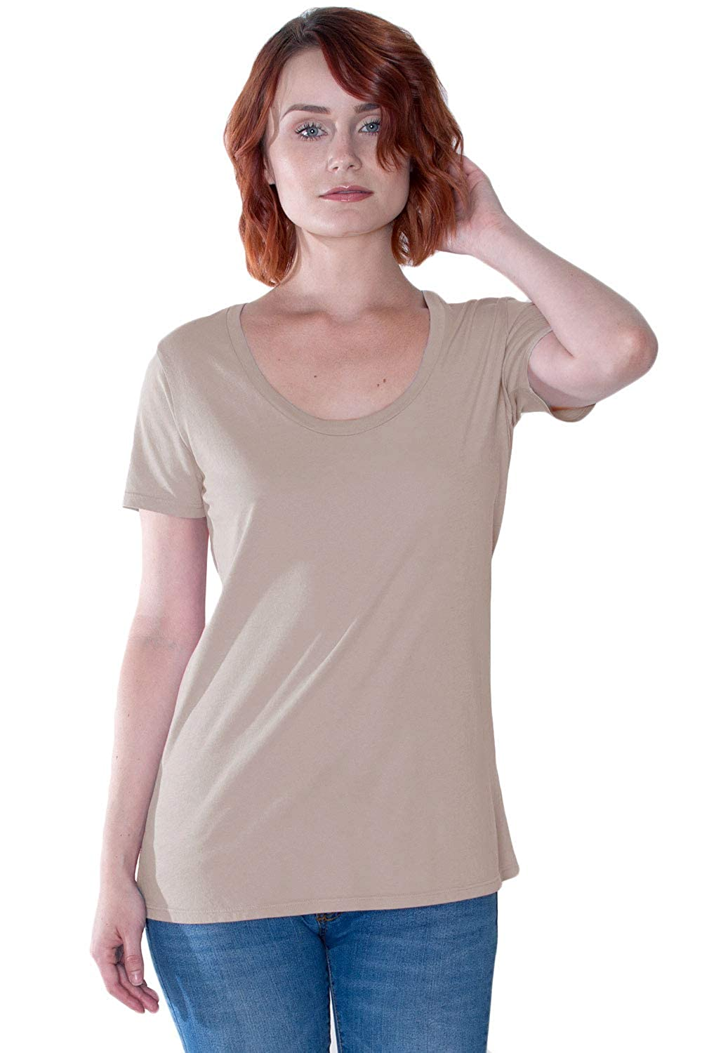 801dc849f2e The Made in The USA Starling Scoop Neck Tee in Non-GMO Organic Cotton at  Amazon Women's Clothing store: