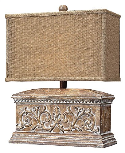 Elk Accent - Dimond Lighting 93-10026 13 by 17-Inch Pinder 1-Light Distressed Wood Tone Accent Traditional Table Lamp with Burlamp Shade, Corbel Finish