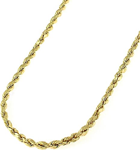 """Brand New 10k Yellow Gold 5mm Italy Rope Chain Twist Link Necklace Size 16/""""-32/"""""""