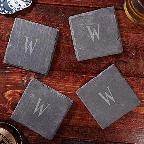 Personalized Coaster Lounge - Franklin Personalized Slate Coasters, Set of 4 (Customizable Product)