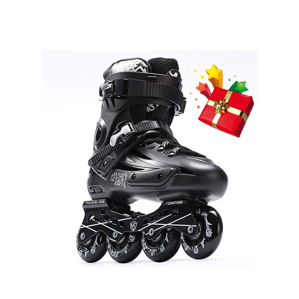 Gcxhlx Outdoor Teen Inline Skates,Women Recreational Inline Roller Skates,Indoor Adult Racing Skates Gift for Beginner Men Ladies Male Youth Black (Color : A, Size : EU 44/US 11/UK 10/JP 27cm)