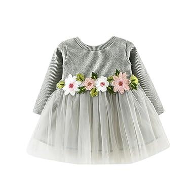 a9b38b50af5 Kavitoz for 0-24M Baby Cute Toddler Baby Girl Floral Tutu Long Sleeve Lace  Princess Dress: Amazon.co.uk: Clothing