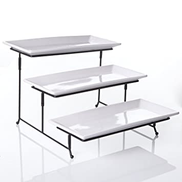 Amazon Com Tier Rectangular Serving Platter Three Tiered Cake