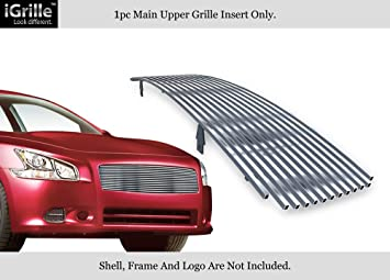 APS Compatible with 2009-2014 Nissan Maxima 304 Stainless Steel Black Billet Grille Combo S18-J47778N