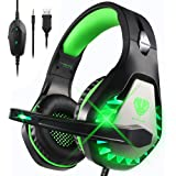 Gaming Headset for Xbox One, PS4, Nintendo Switch, Stereo Bass Surround Headphones with Noise Cancelling Mic & LED Light…