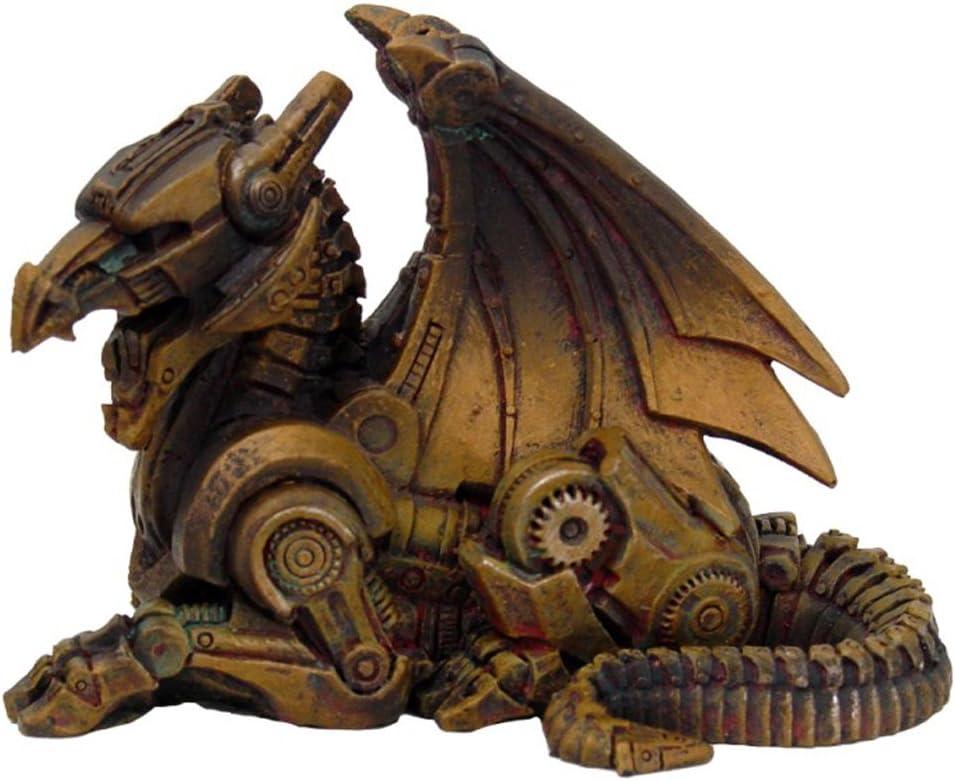 PTC 3.5 Inch Steampunk Sitting Winged Dragon Resin Statue Figurine