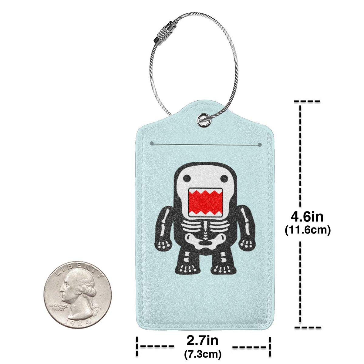 Funny Cool Domo-kun Skeleton Leather Luggage Tag Travel ID Label For Baggage Suitcase