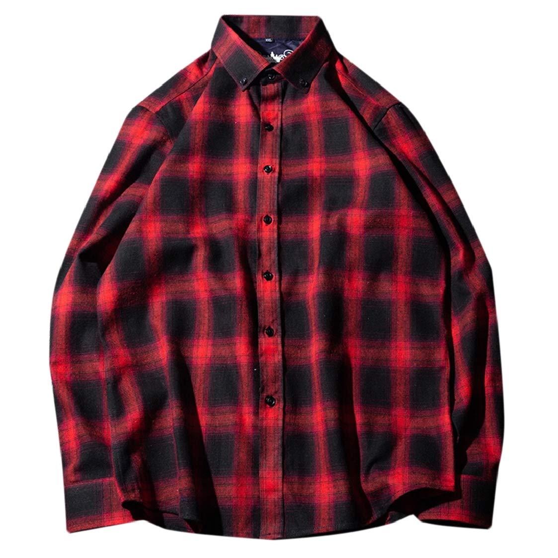 Nanquan Men Big /& Tall Casual Plaid Button Up Regular-Fit Long Sleeve Shirts