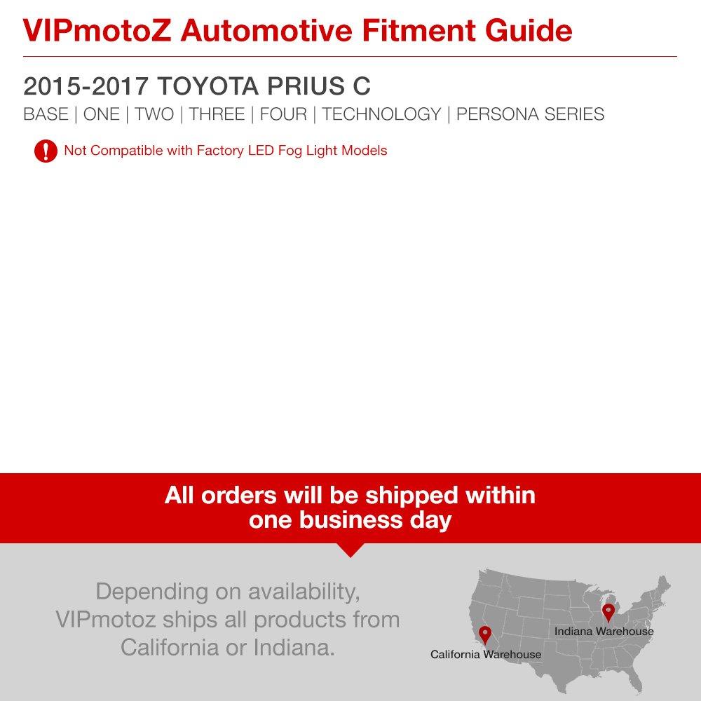 Vipmotoz For 2015 2017 Toyota Prius C Fog Lights Fuse Box Factory Style Metallic Chrome Housing Driver And Passenger Side Automotive
