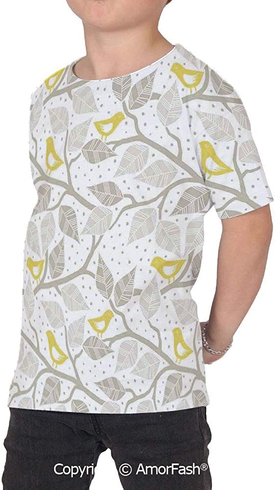 Grey Crew Neck for Ultimate Comfort T-Shirt,Birds on The Branch wit