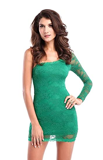 fa46fcb0680 Spice it up Women's Mini One Shoulder Lace Party Club Bodycon Dress  LB9336,Green,Free Size: Amazon.in: Clothing & Accessories