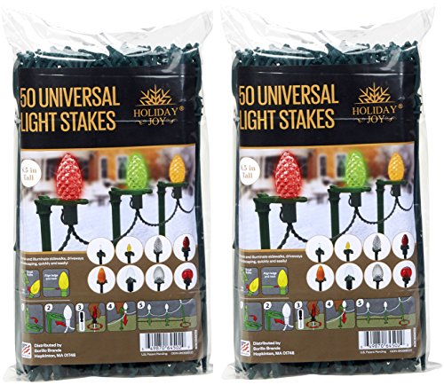 Holiday Joy Universal Light Lawn Stakes for Holiday String Lights on Yards, Driveways & Pathways - 8.5