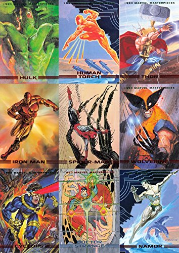 MARVEL MASTERPIECES 1993 SKYBOX COMPLETE BASE CARD SET OF 90 (Comic Cards Trading Book)