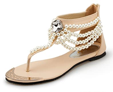 c5d93175b Aisun Women s Boho Beaded Covered Heels Open Split Toe Flat BeachThong Flip  Flop Sandals Shoes Apricot