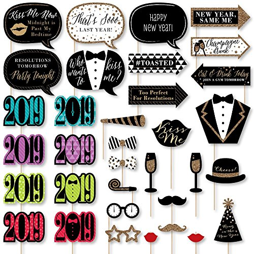 Big Dot of Happiness New Year's Eve - 2019 New Years Eve Party Supplies & Photo Booth Props Kit - 34 Piece ()