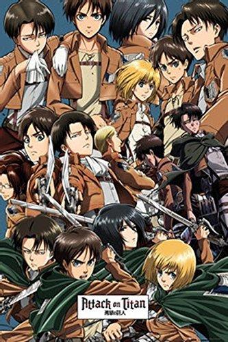 Buyartforless Attack On Titan Characters Collage 36x24 Anime Art