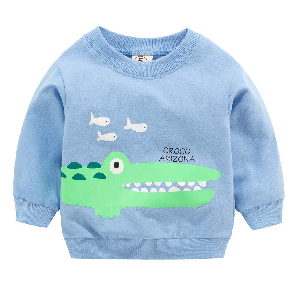 Toddler Kid Baby Girl Boy Clothes Long Sleeve Cartoon Printed T-Shirt Tops Light Blue