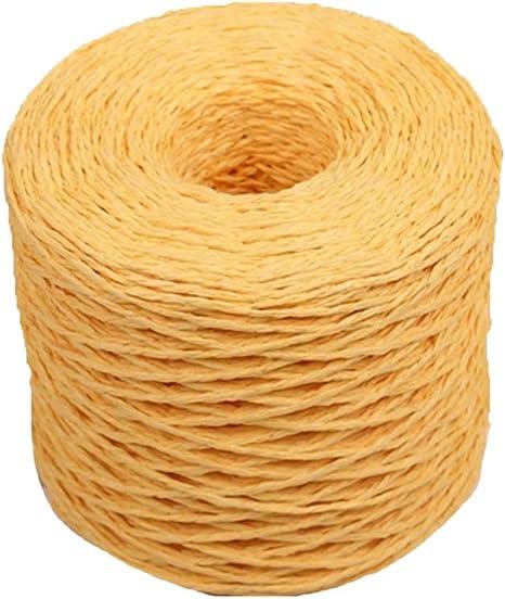 Tejido a Mano Hilo de Paja de Rafia Hilo de Ganchillo para Manualidades Amarillo Brillante Material Bolsas de Sombrero de Verano