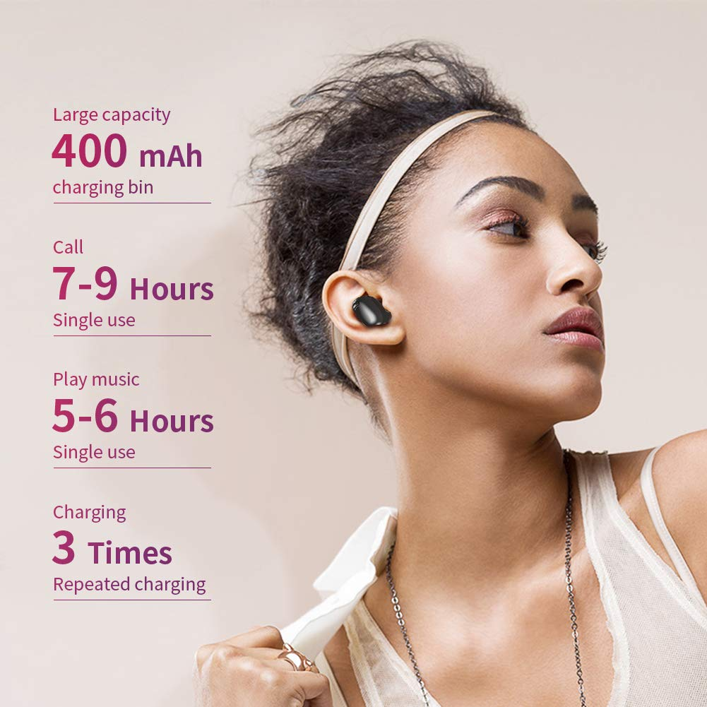 Timemaker True Wireless Bluetooth Earbuds, Mini Bluetooth Earphones Latest Bluetooth 5.0 Headphone Built in Microphone Dual Speakers with 8 Hours Talking Time for iOS and Android Smart Phones, White