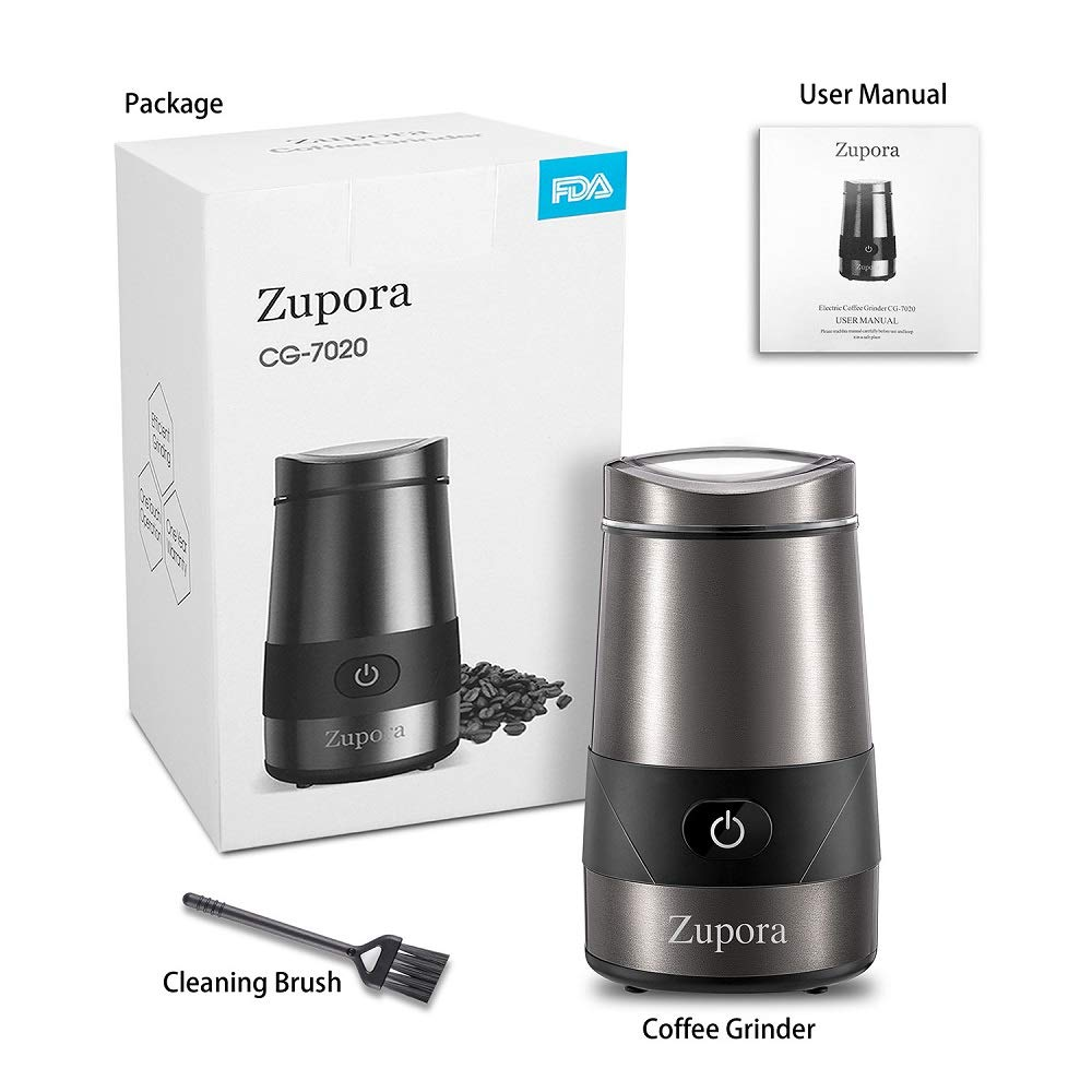 200W Electric Coffee Grinder Silver Zupora Spice and Coffee Grinder with Stainless Steel Blades and Cleaning Brush
