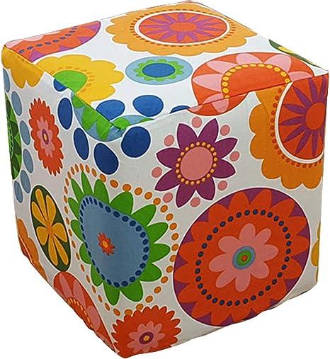 Amazon Com Plafueto Canvas Ottoman Cover Square Ottoman Slipcover Cotton Footstool Protector Storage Ottoman Covers Furniture Protector Home Decor Orange 15 7 X15 7 Home Kitchen